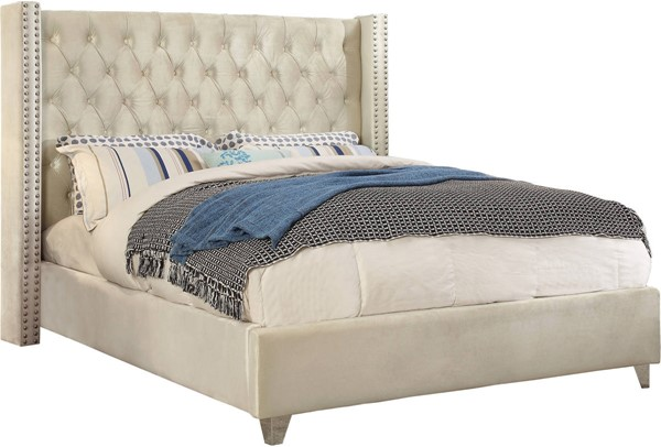 Meridian Furniture Aiden Cream Velvet Full Bed MRD-AidenCream-F
