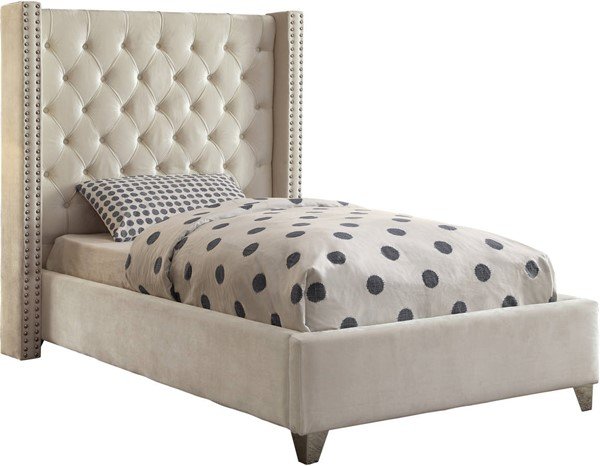 Meridian Furniture Aiden Cream Velvet Twin Bed MRD-AidenCream-T