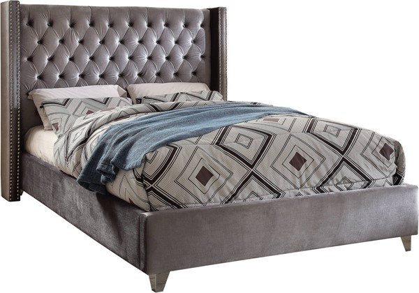 Design Edge Ivanhoe  Grey Velvet Full Bed DE-21995543
