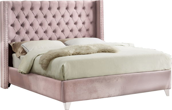 Meridian Furniture Aiden Pink Velvet Queen Bed MRD-AidenPink-Q