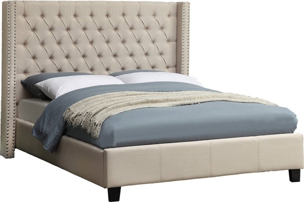 Design Edge Kurri Kurri  Beige Linen Queen Bed DE-21995702