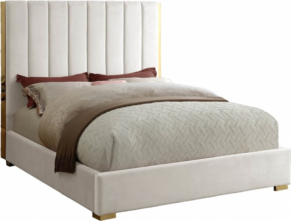 Meridian Furniture Becca Cream Velvet Full Bed MRD-BeccaCream-F