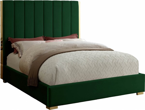 Meridian Furniture Becca Green Velvet King Bed MRD-BeccaGreen-K