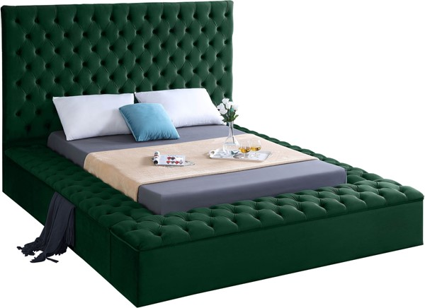 Meridian Furniture Bliss Green Velvet Full Bed MRD-BlissGreen-F