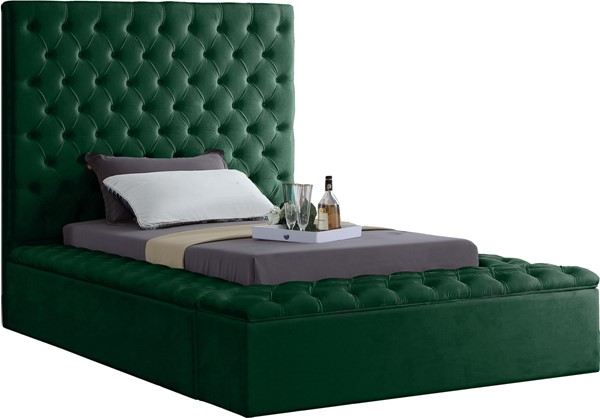 Meridian Furniture Bliss Green Velvet Twin Bed MRD-BlissGreen-T