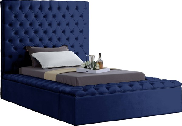 Meridian Furniture Bliss Navy Velvet Twin Bed MRD-BlissNavy-T