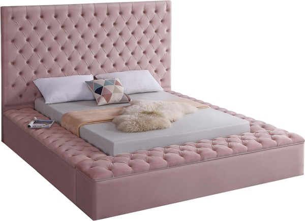 Meridian Furniture Bliss Pink Velvet Full Bed MRD-BlissPink-F