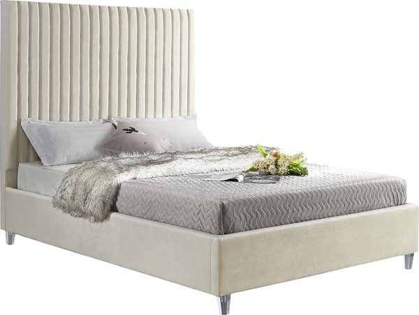 Meridian Furniture Candace Cream Velvet Full Bed MRD-CandaceCream-F