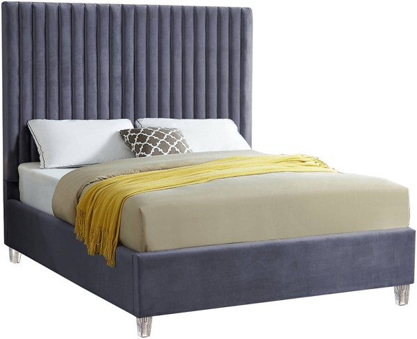 Meridian Furniture Candace Grey Velvet Full Bed MRD-CandaceGrey-F