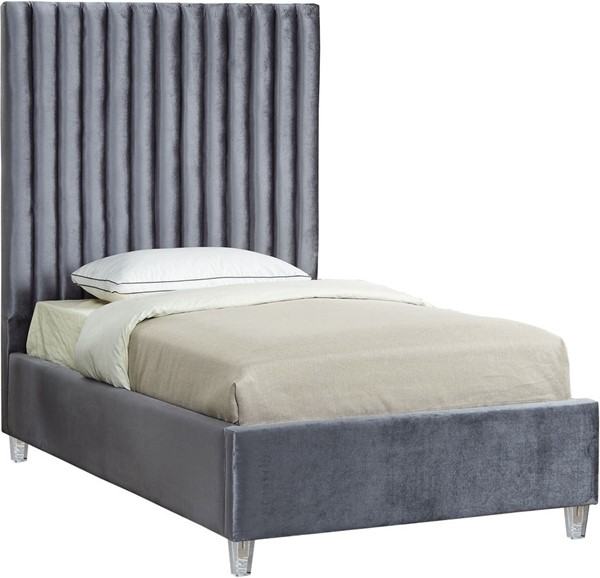 Meridian Furniture Candace Grey Velvet Twin Bed MRD-CandaceGrey-T