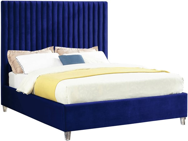 Meridian Furniture Candace Navy Velvet Queen Bed MRD-CandaceNavy-Q