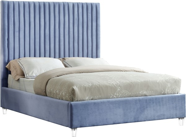 Meridian Furniture Candace Sky Blue Velvet Full Bed MRD-CandaceSkyBlu-F