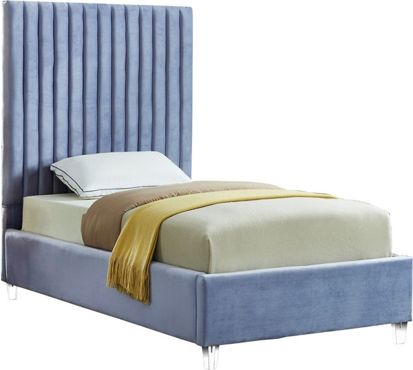 Meridian Furniture Candace Sky Blue Velvet Twin Bed MRD-CandaceSkyBlu-T