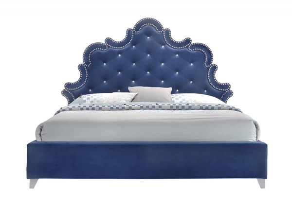 Meridian Furniture Caroline Navy Velvet King Bed MRD-Caroline-K