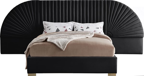 Meridian Furniture Cleo Black Velvet Queen Bed MRD-CleoBlack-Q