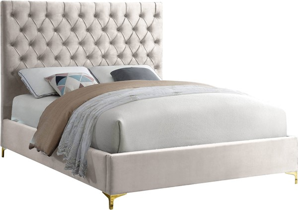 Meridian Furniture Cruz Cream Velvet Queen Bed MRD-CruzCream-Q