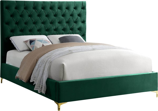 Design Edge Narooma  Green Velvet King Bed DE-23462897