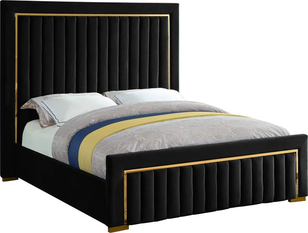 Meridian Furniture Dolce Black Velvet Beds MRD-DOLCE-BED-VAR