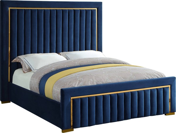 Design Edge North Richmond  Navy Velvet Queen Bed DE-23463210