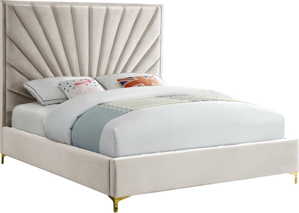 Design Edge Numbaa  Cream Velvet Full Bed DE-23463232