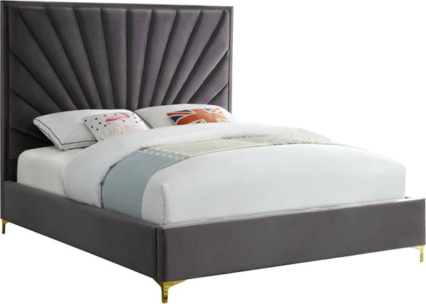 Meridian Furniture Eclipse Grey Velvet Queen Bed MRD-EclipseGrey-Q
