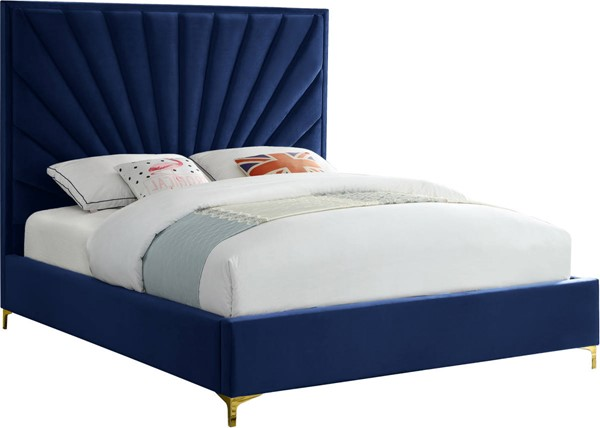 Meridian Furniture Eclipse Navy Velvet Full Bed MRD-EclipseNavy-F