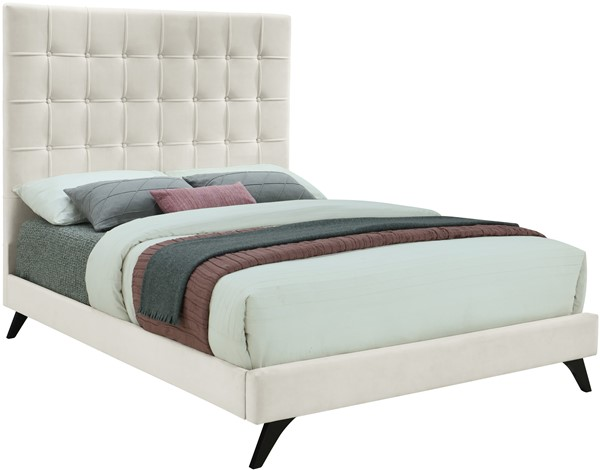 Meridian Furniture Elly Cream Velvet Queen Bed MRD-EllyCream-Q