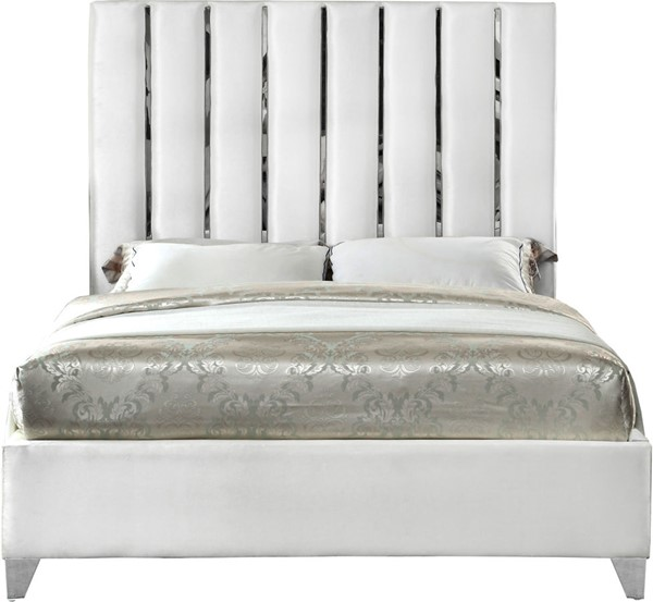 Meridian Furniture Enzo White Velvet Full Bed MRD-EnzoWhite-F