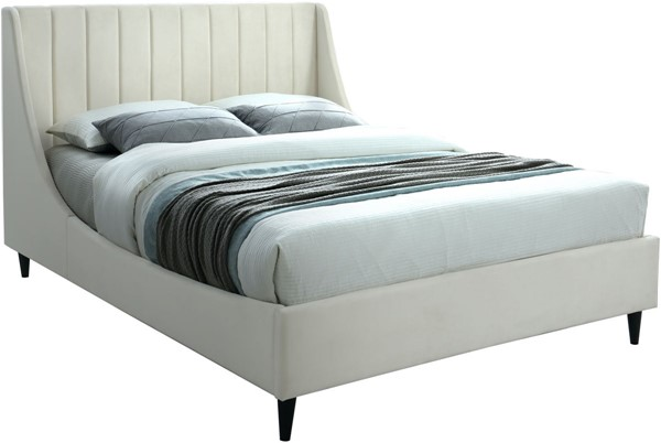 Meridian Furniture Eva Cream Velvet Queen Bed MRD-EvaCream-Q