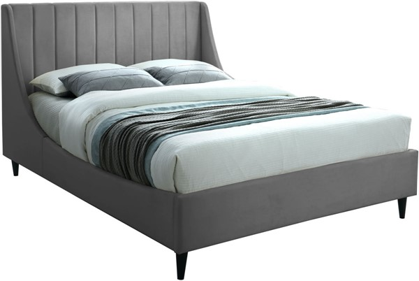 Meridian Furniture Eva Grey Velvet Full Bed MRD-EvaGrey-F