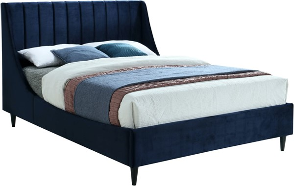 Meridian Furniture Eva Navy Velvet Full Bed MRD-EvaNavy-F