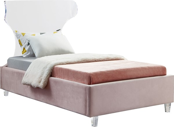 Meridian Furniture Ghost Pink Velvet Twin Bed MRD-GhostPink-T