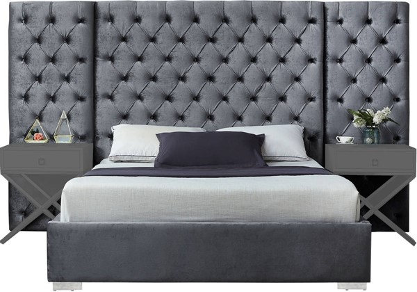 Design Edge Scarborough  Grey Velvet Queen Bed DE-22612606