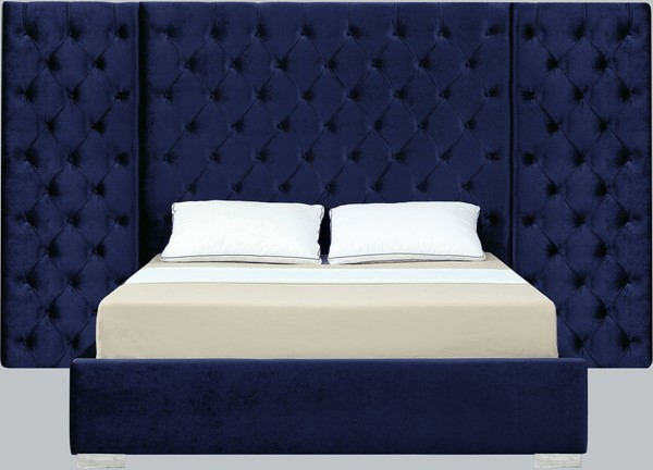 Meridian Furniture Grande Navy Velvet King Bed MRD-GrandeNavy-K