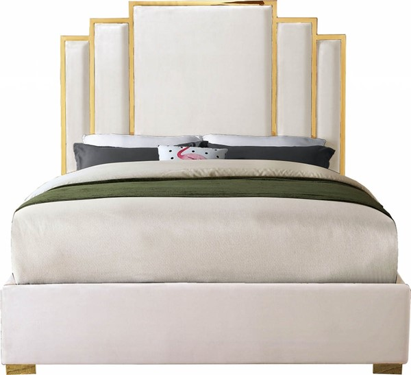 Meridian Furniture Hugo Cream Velvet King Bed MRD-HugoCream-K