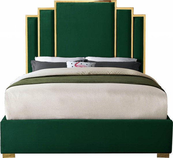 Meridian Furniture Hugo Green Velvet King Bed MRD-HugoGreen-K