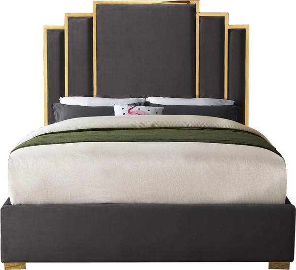 Meridian Furniture Hugo Grey Velvet King Bed MRD-HugoGrey-K