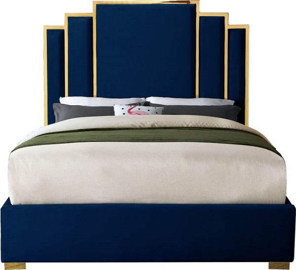 Meridian Furniture Hugo Navy Velvet King Bed MRD-HugoNavy-K