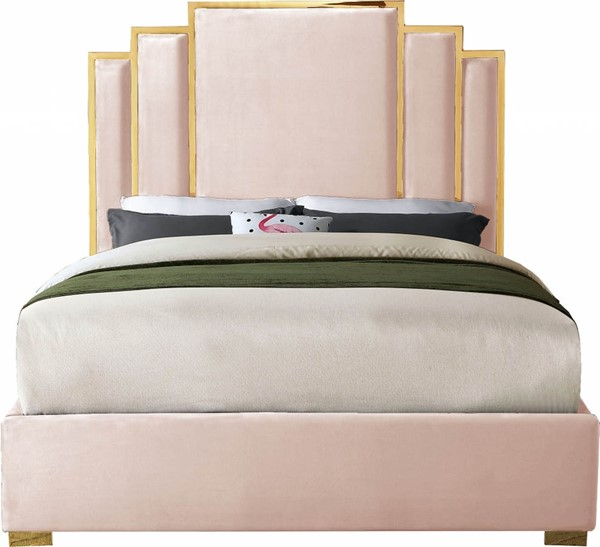 Meridian Furniture Hugo Pink Velvet King Bed MRD-HugoPink-K