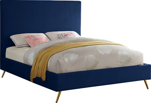 Design Edge Thirlmere  Navy Velvet King Bed DE-23463458