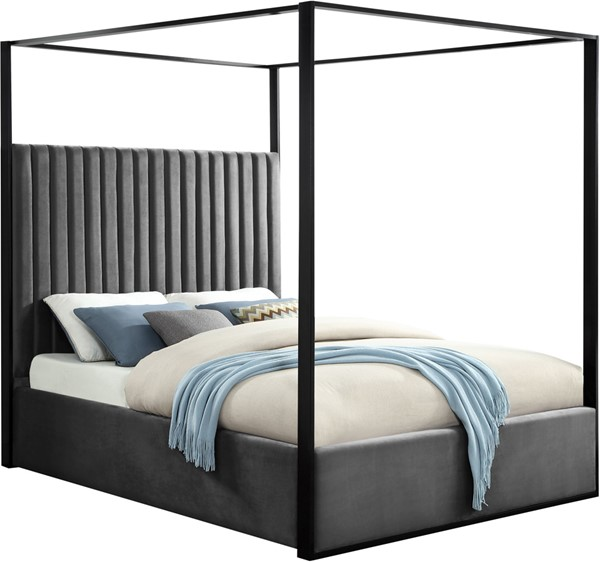 Meridian Furniture Jax Grey Velvet King Bed MRD-JaxGrey-K