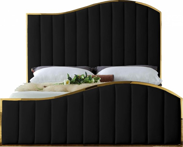 Design Edge Toukley  Black Velvet Queen Bed DE-23030478