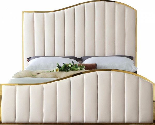 Meridian Furniture Jolie Cream Velvet Queen Bed MRD-JolieCream-Q