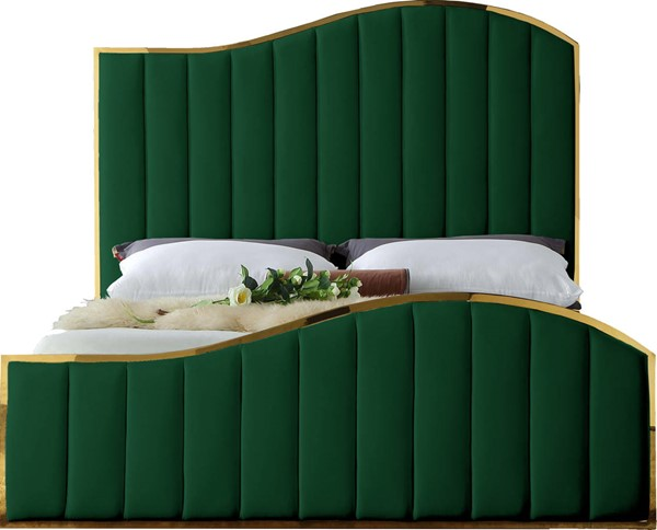 Meridian Furniture Jolie Green Velvet Queen Bed MRD-JolieGreen-Q