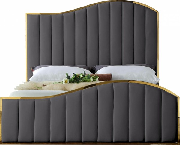 Design Edge Toukley  Grey Velvet King Bed DE-23030508