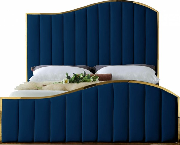 Design Edge Toukley  Navy Velvet Queen Bed DE-23030538