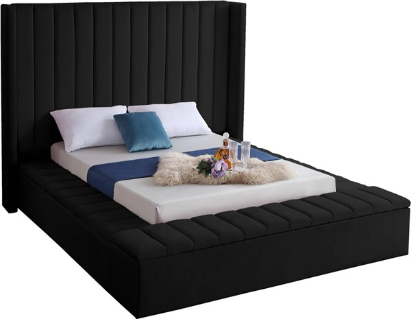 Meridian Furniture Kiki Black Velvet Queen Bed MRD-KikiBlack-Q
