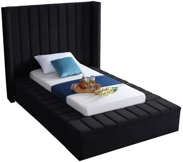Design Edge Ungarie  Black Velvet Twin Bed DE-23274033