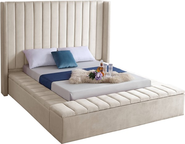 Design Edge Ungarie  Cream Velvet Queen Bed DE-23274063