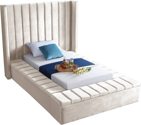Design Edge Ungarie  Cream Velvet Twin Bed DE-23274073
